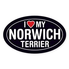 I Love My Norwich Terrier Oval Sticker/Decal