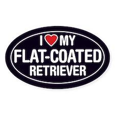 I Love My Flat-Coated Retriever Oval Sticker/Decal
