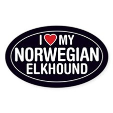 I Love My Norwegian Elkhound Oval Sticker/Decal