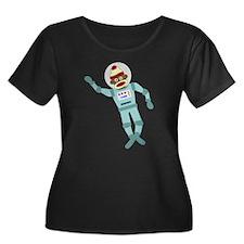 Sock Monkey Astronaut Women's Plus Size T-Shirt