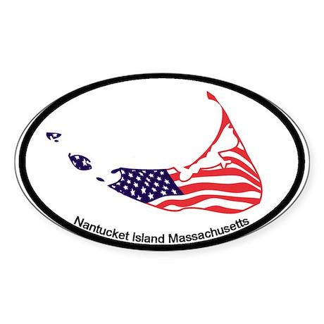 Nantucket Island MA - Map Design Sticker (Oval)
