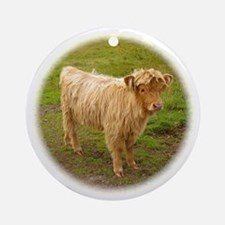 Heilan Coo (Highland Cow) Ornament (Round)