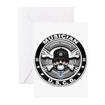 USCG Musician Skull MU Greeting Cards (Pk of 20)