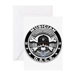USCG Musician Skull MU Greeting Card