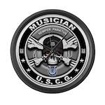 USCG Musician Skull MU Large Wall Clock