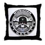 USCG Musician Skull MU Throw Pillow