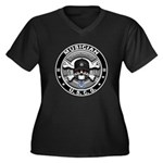 USCG Musician Skull MU Women's Plus Size V-Neck Da