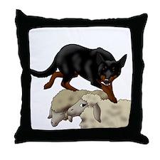 Kelpie On Sheep Throw Pillow