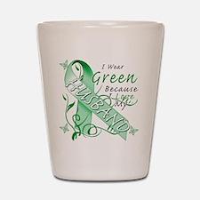 I Wear Green I Love My Husban Shot Glass