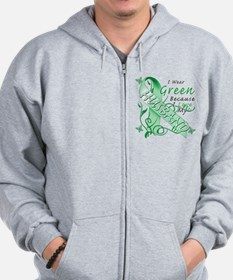 I Wear Green I Love My Husban Zip Hoodie