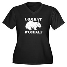 Combat Wombat Women's Plus Size V-Neck Dark T-Shir