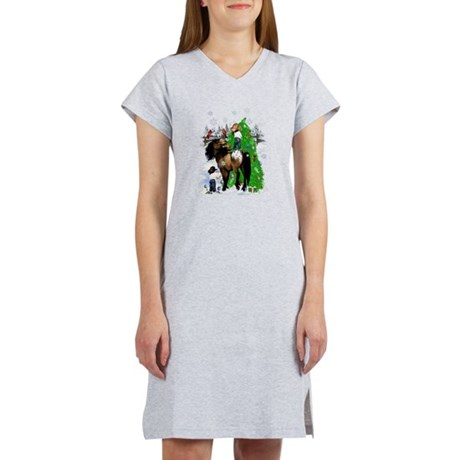 A Horse and Kid Christmas Women's Nightshirt