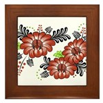 Petrykivka Flowers I Framed Tile