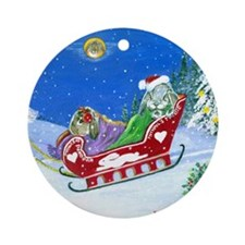 Rabbit Holiday Art Ornament (Round)