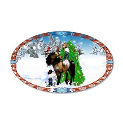 A Horse and Kid Christmas 38.5 x 24.5 Oval Wall Pe