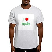 I Love (Heart) Progressives Ash Grey T-Shirt
