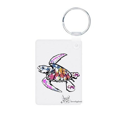 Sea Turtle with Flowers Aluminum Photo Keychain
