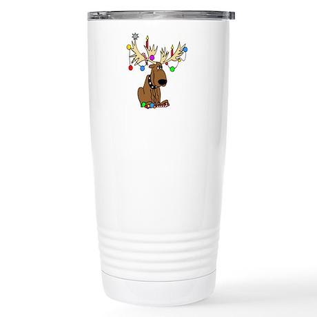 Reindeer Dog Stainless Steel Travel Mug