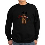 Dog with Candy Cane Sweatshirt (dark)