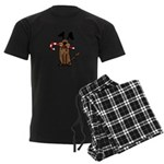 Dog with Candy Cane Men's Dark Pajamas