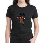 Dog with Candy Cane Women's Dark T-Shirt