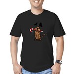 Dog with Candy Cane Men's Fitted T-Shirt (dark)