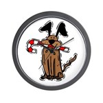 Dog with Candy Cane Wall Clock