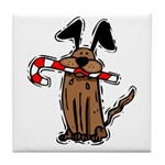 Dog with Candy Cane Tile Coaster