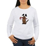 Dog with Candy Cane Women's Long Sleeve T-Shirt