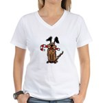 Dog with Candy Cane Women's V-Neck T-Shirt