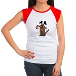 Dog with Candy Cane Women's Cap Sleeve T-Shirt