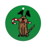 Dog with Candy Cane Ornament (Round)