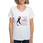 Hero Melanoma Ribbon Women's V-Neck T-Shirt