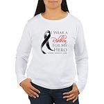 Hero Melanoma Ribbon Women's Long Sleeve T-Shirt