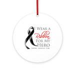 Hero Melanoma Ribbon Ornament (Round)