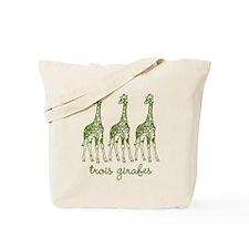 trois girafes (green) Tote Bag