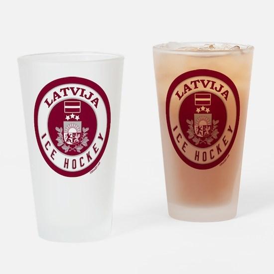 LV Latvia/Latvija Hockey Drinking Glass