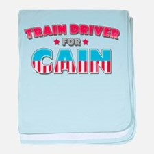 Train driver for Cain baby blanket