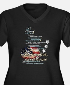 God bless America: Women's Plus Size V-Neck Dark T