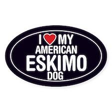 I Love My American Eskimo Dog Oval Sticker/Decal