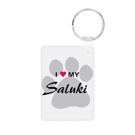 I Love My Saluki Aluminum Photo Keychain