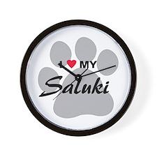 I Love My Saluki Wall Clock