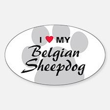 I Love My Belgian Sheepdog Sticker (Oval)