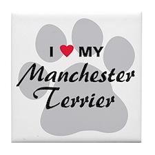 Love My Manchester Terrier Tile Coaster