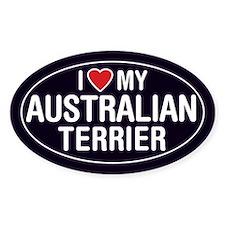 I Love My Australian Terrier Oval Sticker/Decal