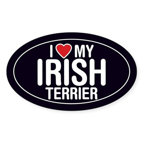 I Love My Irish Terrier Oval Sticker/Decal