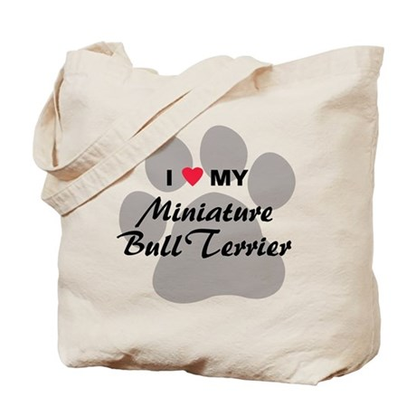 I Love My Mini Bull Terrier Tote Bag