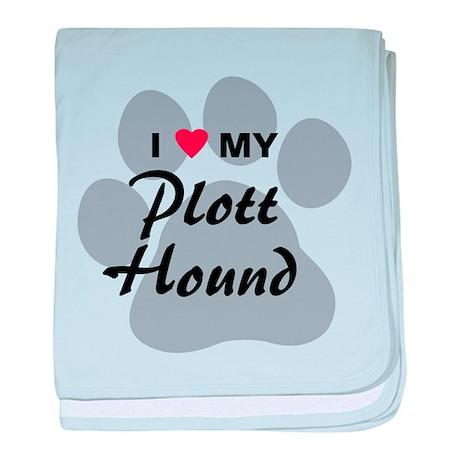 I Love My Plott Hound baby blanket