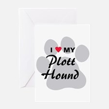 I Love My Plott Hound Greeting Card