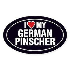 I Love My German Pinscher Oval Sticker/Decal